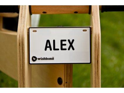 Wishbone Bike - cedulka se jménem